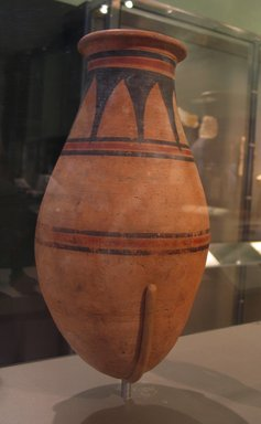 <em>Tall, Round-Bottomed Jar</em>, ca. 1478-1390 B.C.E. Clay, pigment, 13 x Diam. 6 13/16 in. (33 x 17.3 cm). Brooklyn Museum, Gift of Evangeline Wilbour Blashfield, Theodora Wilbour, and Victor Wilbour honoring the wishes of their mother, Charlotte Beebe Wilbour, as a memorial to their father Charles Edwin Wilbour, 16.580.136. Creative Commons-BY (Photo: Brooklyn Museum, CUR.16.580.136_erg456.jpg)