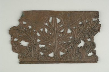 Coptic. <em>Openwork Plaque with Botanical Decoration</em>, 5th-7th century C.E. Bronze, 4 1/8 x 1/8 (Depth) x 7 5/16 in. (10.5 x 0.3 x 18.5 cm). Brooklyn Museum, Gift of Evangeline Wilbour Blashfield, Theodora Wilbour, and Victor Wilbour honoring the wishes of their mother, Charlotte Beebe Wilbour, as a memorial to their father, Charles Edwin Wilbour, 16.580.140. Creative Commons-BY (Photo: Brooklyn Museum (in collaboration with Index of Christian Art, Princeton University), CUR.16.580.140_ICA.jpg)