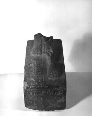 <em>Oblong Pedestal of Statue</em>, 664-404 B.C.E. Granite, 4 5/8 x 4 3/16 x 9 3/4 in. (11.8 x 10.7 x 24.8 cm). Brooklyn Museum, Gift of Evangeline Wilbour Blashfield, Theodora Wilbour, and Victor Wilbour honoring the wishes of their mother, Charlotte Beebe Wilbour, as a memorial to their father, Charles Edwin Wilbour, 16.580.150. Creative Commons-BY (Photo: Brooklyn Museum, CUR.16.580.150_NegCEG794_print_bw.jpg)