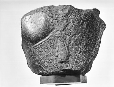 Egyptian. <em>Fragment from Statue of Montuemhat</em>, ca. 1075-656 B.C.E. Granite, 5 1/2 × 7 × 4 in. (14 × 17.8 × 10.2 cm). Brooklyn Museum, Gift of Evangeline Wilbour Blashfield, Theodora Wilbour, and Victor Wilbour honoring the wishes of their mother, Charlotte Beebe Wilbour, as a memorial to their father, Charles Edwin Wilbour, 16.580.186. Creative Commons-BY (Photo: Brooklyn Museum, CUR.16.580.186_NegI_bw.jpg)