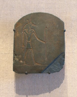 <em>Stela with Image of Seth</em>, ca. 664-30 B.C.E. Slate, 3 7/16 x 2 7/8 in. (8.8 x 7.3 cm). Brooklyn Museum, Gift of Evangeline Wilbour Blashfield, Theodora Wilbour, and Victor Wilbour honoring the wishes of their mother, Charlotte Beebe Wilbour, as a memorial to their father, Charles Edwin Wilbour, 16.580.187. Creative Commons-BY (Photo: Brooklyn Museum, CUR.16.580.187_wwgA-1.jpg)