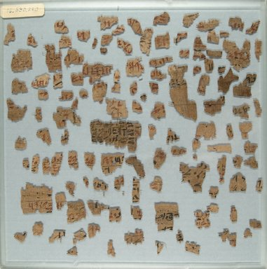 <em>Papyrus Fragments Inscribed in Hieratic</em>, ca. 1938-1630 B.C.E. Papyrus, ink, a: Largest fragment: 2 5/16 x 1 1/4 in. (5.8 x 3.2 cm). Brooklyn Museum, Gift of Evangeline Wilbour Blashfield, Theodora Wilbour, and Victor Wilbour honoring the wishes of their mother, Charlotte Beebe Wilbour, as a memorial to their father, Charles Edwin Wilbour, 16.580.220a-b (Photo: Brooklyn Museum, CUR.16.580.220a_front_IMLS_PS5.jpg)