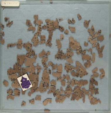 <em>Papyrus Fragments Inscribed in Hieratic</em>, ca. 1938-1630 B.C.E. Papyrus, ink, b: Max. size c.: 1 15/16 in. (5 cm). Brooklyn Museum, Gift of Evangeline Wilbour Blashfield, Theodora Wilbour, and Victor Wilbour honoring the wishes of their mother, Charlotte Beebe Wilbour, as a memorial to their father, Charles Edwin Wilbour, 16.580.227a-b (Photo: Brooklyn Museum, CUR.16.580.227a_front_IMLS_PS5.jpg)