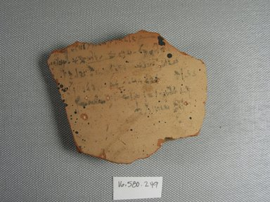 <em>Demotic Ostracon</em>, Year 13 = Year 10 of Cleopatra III and Ptolemy X Alexander I. Terracotta, pigment, 2 15/16 x 1/2 x 3 3/4 in. (7.5 x 1.3 x 9.5 cm). Brooklyn Museum, Gift of Evangeline Wilbour Blashfield, Theodora Wilbour, and Victor Wilbour honoring the wishes of their mother, Charlotte Beebe Wilbour, as a memorial to their father, Charles Edwin Wilbour, 16.580.249. Creative Commons-BY (Photo: Brooklyn Museum, CUR.16.580.249_view1.jpg)