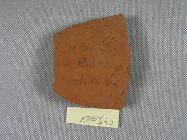 Demotic. <em>Demotic Ostracon</em>, Year 15 (of Ptolemy II Philadelphus?). Terracotta, pigment, 2 5/16 x 7/16 x 2 13/16 in. (5.8 x 1.1 x 7.1 cm). Brooklyn Museum, Gift of Evangeline Wilbour Blashfield, Theodora Wilbour, and Victor Wilbour honoring the wishes of their mother, Charlotte Beebe Wilbour, as a memorial to their father, Charles Edwin Wilbour, 16.580.497. Creative Commons-BY (Photo: Brooklyn Museum, CUR.16.580.497_view1.jpg)