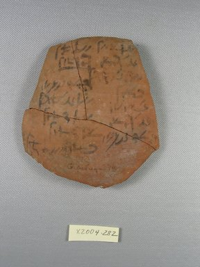 Demotic. <em>Demotic Ostracon</em>. Terracotta, pigment, 4 7/16 x 1/4 x 4 5/8 in. (11.2 x 0.6 x 11.8 cm). Brooklyn Museum, Gift of Evangeline Wilbour Blashfield, Theodora Wilbour, and Victor Wilbour honoring the wishes of their mother, Charlotte Beebe Wilbour, as a memorial to their father, Charles Edwin Wilbour, 16.580.501. Creative Commons-BY (Photo: Brooklyn Museum, CUR.16.580.501_view1.jpg)
