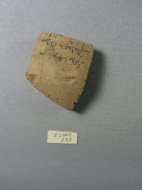 Demotic. <em>Demotic Ostracon</em>. Terracotta, pigment, 1 15/16 x 3/8 x 2 5/16 in. (5 x 0.9 x 5.9 cm). Brooklyn Museum, Gift of Evangeline Wilbour Blashfield, Theodora Wilbour, and Victor Wilbour honoring the wishes of their mother, Charlotte Beebe Wilbour, as a memorial to their father, Charles Edwin Wilbour, 16.580.511. Creative Commons-BY (Photo: Brooklyn Museum, CUR.16.580.511_view1.jpg)