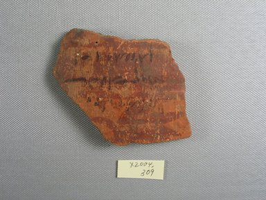 Demotic. <em>Demotic Ostracon</em>, Year 8 (of Ptolemy II Philadelphus?). Terracotta, pigment, 2 11/16 x 3 9/16 x 4 in. (6.9 x 9 x 10.1 cm). Brooklyn Museum, Gift of Evangeline Wilbour Blashfield, Theodora Wilbour, and Victor Wilbour honoring the wishes of their mother, Charlotte Beebe Wilbour, as a memorial to their father, Charles Edwin Wilbour, 16.580.526. Creative Commons-BY (Photo: Brooklyn Museum, CUR.16.580.526_view1.jpg)