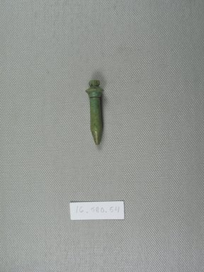 <em>Papyrus Column Amulet</em>, 664–525 B.C.E. Faience, 1 3/4 x 1/2 x 1/2 in. (4.4 x 1.3 x 1.3 cm). Brooklyn Museum, Gift of Evangeline Wilbour Blashfield, Theodora Wilbour, and Victor Wilbour honoring the wishes of their mother, Charlotte Beebe Wilbour, as a memorial to their father Charles Edwin Wilbour, 16.580.54. Creative Commons-BY (Photo: Brooklyn Museum, CUR.16.580.54_overall.jpg)