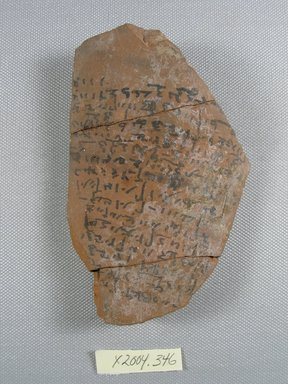<em>Demotic Ostracon</em>. Terracotta, pigment, 3 1/8 x 1/2 x 4 13/16 in. (7.9 x 1.2 x 12.3 cm). Brooklyn Museum, Gift of Evangeline Wilbour Blashfield, Theodora Wilbour, and Victor Wilbour honoring the wishes of their mother, Charlotte Beebe Wilbour, as a memorial to their father, Charles Edwin Wilbour, 16.580.557. Creative Commons-BY (Photo: Brooklyn Museum, CUR.16.580.557_view1.jpg)