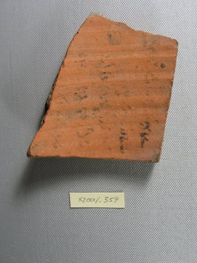 Demotic. <em>Demotic Ostracon</em>. Terracotta, pigment, 4 x 3/8 x 3 7/8 in. (10.1 x 1 x 9.9 cm). Brooklyn Museum, Gift of Evangeline Wilbour Blashfield, Theodora Wilbour, and Victor Wilbour honoring the wishes of their mother, Charlotte Beebe Wilbour, as a memorial to their father, Charles Edwin Wilbour, 16.580.570. Creative Commons-BY (Photo: Brooklyn Museum, CUR.16.580.570_view1.jpg)