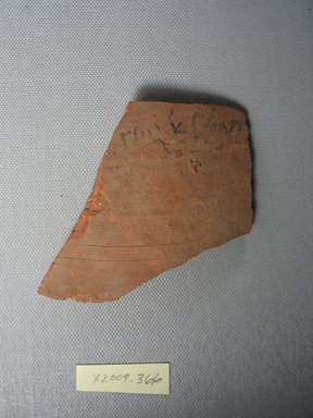 Demotic. <em>Demotic Ostracon</em>. Terracotta, pigment, 3 7/16 x 1/4 x 3 1/8 in. (8.7 x 0.7 x 7.9 cm). Brooklyn Museum, Gift of Evangeline Wilbour Blashfield, Theodora Wilbour, and Victor Wilbour honoring the wishes of their mother, Charlotte Beebe Wilbour, as a memorial to their father, Charles Edwin Wilbour, 16.580.577. Creative Commons-BY (Photo: Brooklyn Museum, CUR.16.580.577_view1.jpg)