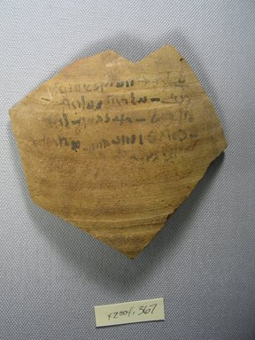 Demotic. <em>Demotic Ostracon</em>, Year 7 of Domitian. Terracotta, pigment, 4 5/16 x 1/4 x 4 5/8 in. (11 x 0.6 x 11.8 cm). Brooklyn Museum, Gift of Evangeline Wilbour Blashfield, Theodora Wilbour, and Victor Wilbour honoring the wishes of their mother, Charlotte Beebe Wilbour, as a memorial to their father, Charles Edwin Wilbour, 16.580.578. Creative Commons-BY (Photo: Brooklyn Museum, CUR.16.580.578_view1.jpg)