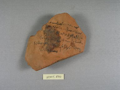 Demotic. <em>Demotic Ostracon</em>, Year 39 of Augustus. Terracotta, pigment, 4 x 3/8 x 4 5/16 in. (10.1 x 0.9 x 10.9 cm). Brooklyn Museum, Gift of Evangeline Wilbour Blashfield, Theodora Wilbour, and Victor Wilbour honoring the wishes of their mother, Charlotte Beebe Wilbour, as a memorial to their father, Charles Edwin Wilbour, 16.580.581. Creative Commons-BY (Photo: Brooklyn Museum, CUR.16.580.581_view1.jpg)