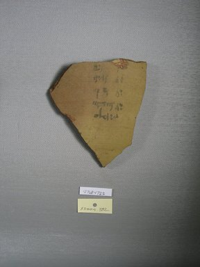 Demotic. <em>Demotic Ostracon</em>, Year 21 (of Ptolemy II Philadelphus?). Terracotta, pigment, 4 x 5/16 x 4 3/4 in. (10.2 x 0.8 x 12 cm). Brooklyn Museum, Gift of Evangeline Wilbour Blashfield, Theodora Wilbour, and Victor Wilbour honoring the wishes of their mother, Charlotte Beebe Wilbour, as a memorial to their father, Charles Edwin Wilbour, 16.580.593. Creative Commons-BY (Photo: Brooklyn Museum, CUR.16.580.593_view1.jpg)