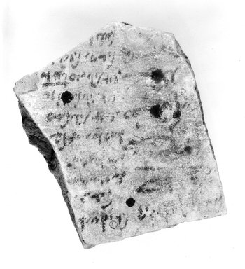 Demotic. <em>Demotic Ostracon</em>. Terracotta, pigment, 3 1/2 x 9/16 x 4 5/16 in. (8.9 x 1.4 x 11 cm). Brooklyn Museum, Gift of Evangeline Wilbour Blashfield, Theodora Wilbour, and Victor Wilbour honoring the wishes of their mother, Charlotte Beebe Wilbour, as a memorial to their father, Charles Edwin Wilbour, 16.580.594 (Photo: Brooklyn Museum, CUR.16.580.594_NegA_bw.jpg)