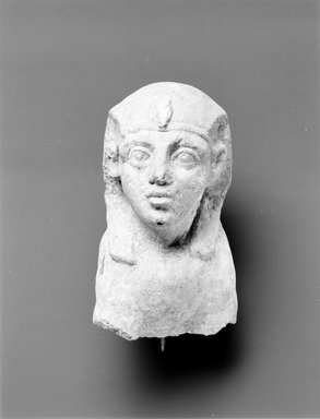 <em>Head and Forepart of Body of Sphinx</em>, 2nd-3rd century C.E. (probably). Limestone, 9 3/16 x 6 1/2 in. (23.3 x 16.5 cm). Brooklyn Museum, Gift of Evangeline Wilbour Blashfield, Theodora Wilbour, and Victor Wilbour honoring the wishes of their mother, Charlotte Beebe Wilbour, as a memorial to their father, Charles Edwin Wilbour, 16.622. Creative Commons-BY (Photo: Brooklyn Museum, CUR.16.622_negA_bw.jpg)
