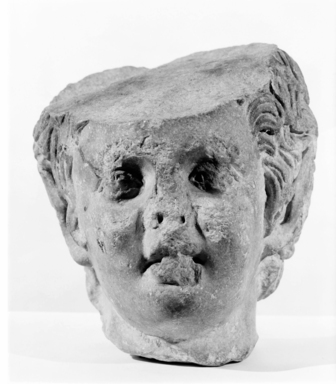 Roman (?). <em>Head of a Faun</em>, 1st-2nd century C.E. Marble, 7 11/16 x 6 1/16 in. (19.5 x 15.4 cm). Brooklyn Museum, Gift of Evangeline Wilbour Blashfield, Theodora Wilbour, and Victor Wilbour honoring the wishes of their mother, Charlotte Beebe Wilbour, as a memorial to their father, Charles Edwin Wilbour, 16.630. Creative Commons-BY (Photo: Brooklyn Museum, CUR.16.630_NegA_print_bw.jpg)