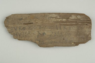 Coptic. <em>Small Fragment</em>. Wood, 2 1/2 x 6 1/2 in. (6.3 x 16.5 cm). Brooklyn Museum, Gift of Evangeline Wilbour Blashfield, Theodora Wilbour, and Victor Wilbour honoring the wishes of their mother, Charlotte Beebe Wilbour, as a memorial to their father, Charles Edwin Wilbour, 16.646. Creative Commons-BY (Photo: Brooklyn Museum (in collaboration with Index of Christian Art, Princeton University), CUR.16.646_view1_ICA.jpg)
