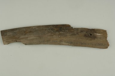 Coptic. <em>Irregular Fragment of Board</em>. Wood, 2 7/8 x 5/16 x 12 1/4 in. (7.3 x 0.8 x 31.1 cm). Brooklyn Museum, Gift of Evangeline Wilbour Blashfield, Theodora Wilbour, and Victor Wilbour honoring the wishes of their mother, Charlotte Beebe Wilbour, as a memorial to their father, Charles Edwin Wilbour, 16.648a-b. Creative Commons-BY (Photo: Brooklyn Museum (in collaboration with Index of Christian Art, Princeton University), CUR.16.648a-b_ICA.jpg)