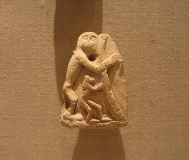 <em>Group of Large and Small Monkeys</em>, ca. 1352-1336 B.C.E. Limestone, pigment, 3 1/8 x 2 1/4 in. (8 x 5.7 cm). Brooklyn Museum, Gift of Evangeline Wilbour Blashfield, Theodora Wilbour, and Victor Wilbour honoring the wishes of their mother, Charlotte Beebe Wilbour, as a memorial to their father, Charles Edwin Wilbour, 16.68. Creative Commons-BY (Photo: Brooklyn Museum, CUR.16.68_wwg7.jpg)