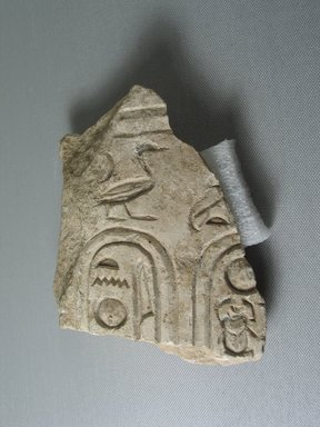 <em>Fragment Preserving One Worked Surface</em>, ca. 1352-1336 B.C.E. Limestone, pigment, 5 1/16 x 4 3/4 in. (12.8 x 12 cm). Brooklyn Museum, Gift of Evangeline Wilbour Blashfield, Theodora Wilbour, and Victor Wilbour honoring the wishes of their mother, Charlotte Beebe Wilbour, as a memorial to their father, Charles Edwin Wilbour, 16.722. Creative Commons-BY (Photo: Brooklyn Museum, CUR.16.722_view01.jpg)