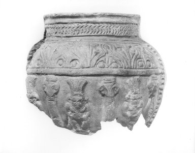 <em>Vase</em>. Clay, 3 1/4 × Diam. 2 11/16 in. (8.2 × 6.9 cm). Brooklyn Museum, Gift of Evangeline Wilbour Blashfield, Theodora Wilbour, and Victor Wilbour honoring the wishes of their mother, Charlotte Beebe Wilbour, as a memorial to their father, Charles Edwin Wilbour, 16.74. Creative Commons-BY (Photo: Brooklyn Museum, CUR.16.74_NegA_print_bw.jpg)