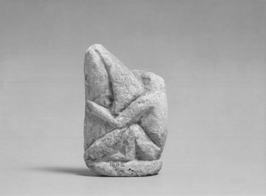 <em>Figure of a Monkey Playing a Harp</em>, ca. 1352-1336 B.C.E. Limestone, pigment, 2 13/16 × 1/2 × 1 11/16 in. (7.2 × 1.3 × 4.3 cm). Brooklyn Museum, Gift of Evangeline Wilbour Blashfield, Theodora Wilbour, and Victor Wilbour honoring the wishes of their mother, Charlotte Beebe Wilbour, as a memorial to their father, Charles Edwin Wilbour, 16.82. Creative Commons-BY (Photo: Brooklyn Museum, CUR.16.82_NegA_print_bw.jpg)