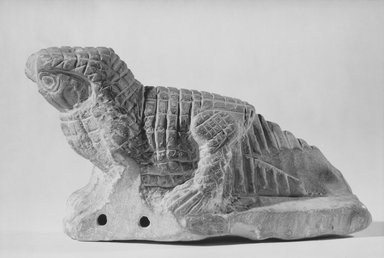 <em>Figure of a Hawk-headed Crocodile</em>, ca. 2nd-3rd century. Limestone, 4 5/8 x 2 1/2 x 8 7/16 in. (11.8 x 6.3 x 21.5 cm). Brooklyn Museum, Gift of Evangeline Wilbour Blashfield, Theodora Wilbour, and Victor Wilbour honoring the wishes of their mother, Charlotte Beebe Wilbour, as a memorial to their father, Charles Edwin Wilbour, 16.86. Creative Commons-BY (Photo: Brooklyn Museum, CUR.16.86_NegA_print_bw.jpg)