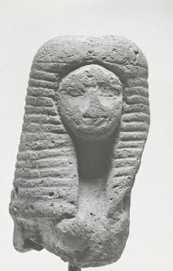 <em>Head and Bust of a Woman</em>, ca. 1292-1190 B.C.E. Terracotta, pigment, 2 5/8 x 1 3/8 x 1 5/16 in. (6.7 x 3.6 x 3.4 cm). Brooklyn Museum, Gift of Evangeline Wilbour Blashfield, Theodora Wilbour, and Victor Wilbour honoring the wishes of their mother, Charlotte Beebe Wilbour, as a memorial to their father, Charles Edwin Wilbour, 16.88. Creative Commons-BY (Photo: Brooklyn Museum, CUR.16.88_NegB_print_bw.jpg)