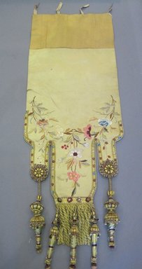 <em>Set of Drapes and Components</em>, early 20th century. Silk, silk embroidery thread, cotton, burlap, wood, a: 24 1/2 x 87 in. (62.2 x 221 cm). Brooklyn Museum, Gift of Frederic B. Pratt, 17004a-bbbb (Photo: Brooklyn Museum, CUR.17004bb.jpg)
