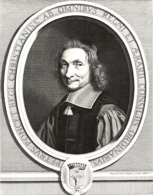 Robert Nanteuil (French, 1623-1678). <em>Pierre Poncet</em>, 1660. Engraving on laid paper, 12 11/16 x 9 13/16 in. (32.2 x 24.9 cm). Brooklyn Museum, Gift of Mrs. Joseph E. Brown in memory of the late Joseph Epes Brown, 18.122 (Photo: Brooklyn Museum, CUR.18.122.jpg)