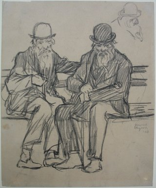 Jerome Myers (American, 1867-1940). <em>Study of Two Old Men</em>, 1903. Charcoal or graphite on paper, Sheet: 7 5/16 x 6 1/16 in. (18.6 x 15.4 cm). Brooklyn Museum, John B. Woodward Memorial Fund, 18.165.2. © artist or artist's estate (Photo: Brooklyn Museum, CUR.18.165.2.jpg)