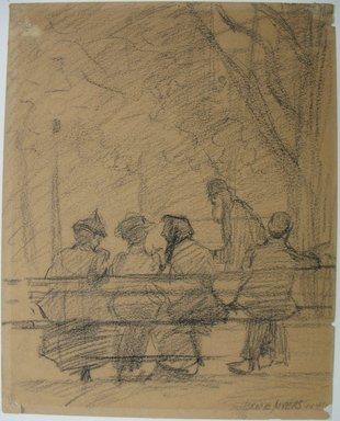 Jerome Myers (American, 1867-1940). <em>Madison Square Bench</em>, 1918. Charcoal on paper, Sheet: 9 5/8 x 7 11/16 in. (24.4 x 19.5 cm). Brooklyn Museum, John B. Woodward Memorial Fund, 18.165.5. © artist or artist's estate (Photo: Brooklyn Museum, CUR.18.165.5.jpg)