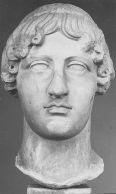 Roman. <em>Head, Apollo of the Omphalos</em>, 1st century C.E. copy of a 480 B.C.E. original. Marble, 12 11/16 x 7 5/8 in. (32.3 x 19.3 cm). Brooklyn Museum, Purchased with funds given by A. Augustus Healy and Robert B. Woodward Memorial Fund, 18.166. Creative Commons-BY (Photo: Brooklyn Museum, CUR.18.166_NegA_print_bw.jpg)