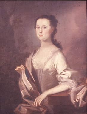 Joseph Blackburn (American, active ca. 1750-1780). <em>Mrs. Wyseman Clagett (Née Lettice Mitchell; Later Mrs. Simon McQuesten)</em>, ca. 1760. Oil on canvas, 36 1/16 x 27 3/4 in. (91.6 x 70.5 cm). Brooklyn Museum, Caroline H. Polhemus Fund, 18.43 (Photo: Brooklyn Museum, CUR.18.43.jpg)