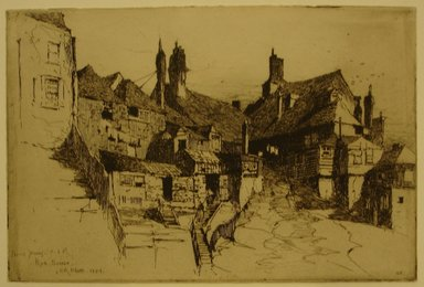 Charles Adams Platt (American, 1861-1933). <em>Rye, Sussex</em>, 1884. Etching on laid paper, Sheet and Image: 6 1/4 x 9 1/4 in. (15.9 x 23.5 cm). Brooklyn Museum, Gift of Frank L. Babbott, 19.116 (Photo: Brooklyn Museum, CUR.19.116.jpg)