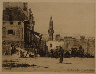 Charles Adams Platt (American, 1861-1933). <em>Clover Market, Cairo</em>, 19th century. Etching on Japan paper, Sheet: 10 5/8 x 14 9/16 in. (27 x 37 cm). Brooklyn Museum, Gift of Frank L. Babbott, 19.122 (Photo: Brooklyn Museum, CUR.19.122.jpg)