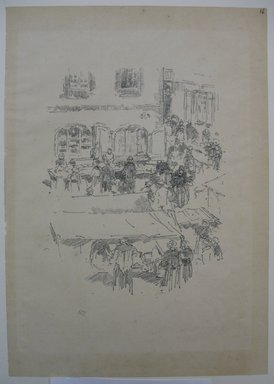 James Abbott McNeill Whistler (American, 1834-1903). <em>The Market - Place, Vitre</em>, 1893. Lithograph, 13 1/16 x 9 3/16 in. (33.2 x 23.3 cm). Brooklyn Museum, Purchased with funds given by Edward C. Blum, William A. Putnam and the Museum Collection Fund, 19.127 (Photo: Brooklyn Museum, CUR.19.127.jpg)