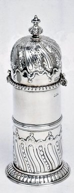 <em>Muffineer</em>, 18th century style. Silver, 9 7/16 x 3 15/16 in. (24 x 10 cm). Brooklyn Museum, Gift of Mrs. Adrian Van Sinderen, 19.128. Creative Commons-BY (Photo: Brooklyn Museum, CUR.19.128.jpg)
