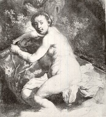 Rembrandt Harmensz. van Rijn (Dutch, 1606-1669). <em>Diana at the Bath</em>, ca. 1631. Etching on laid paper, Plate: 6 15/16 x 6 3/16 in. (17.6 x 15.7 cm). Brooklyn Museum, Gift of William J. Baer, 19.129 (Photo: Brooklyn Museum, CUR.19.129.jpg)