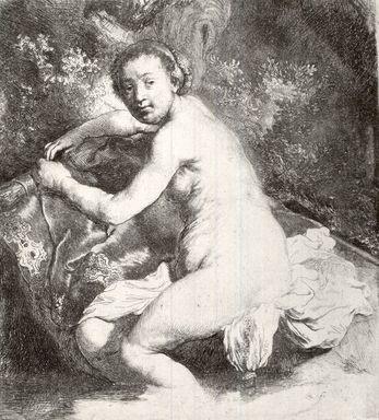 Rembrandt Harmensz. van Rijn (Dutch, 1606-1669). <em>Diana at the Bath</em>, ca. 1631. Etching on laid paper, Plate: 6 15/16 x 6 3/16 in. (17.6 x 15.7 cm). Brooklyn Museum, Gift of William J. Baer, 19.129 (Photo: Brooklyn Museum, CUR.19.129.jpg)