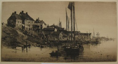 Charles Adams Platt (American, 1861-1933). <em>Portland on the St. John</em>, 1882. Etching on tan Japan paper, Sheet: 16 15/16 x 24 3/16 in. (43 x 61.4 cm). Brooklyn Museum, Gift of Frank L. Babbott, 19.134 (Photo: Brooklyn Museum, CUR.19.134.jpg)