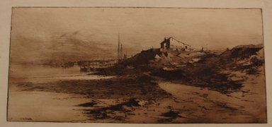 Charles Adams Platt (American, 1861-1933). <em>Near Newport</em>, 1882. Etching on yellow China paper, Image: 8 x 17 3/4 in. (20.3 x 45.1 cm). Brooklyn Museum, Gift of Frank L. Babbott, 19.135 (Photo: Brooklyn Museum, CUR.19.135.jpg)