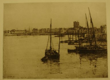 Charles Adams Platt (American, 1861-1933). <em>Dieppe</em>, 1887. Etching on wove paper, Sheet: 14 5/16 x 18 3/4 in. (36.4 x 47.6 cm). Brooklyn Museum, Gift of Frank L. Babbott, 19.139 (Photo: Brooklyn Museum, CUR.19.139.jpg)