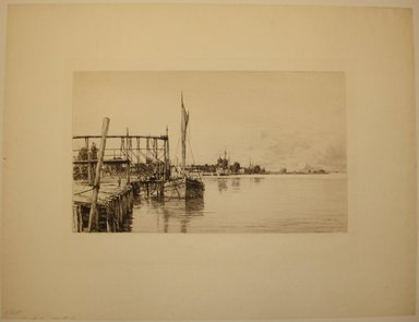 Charles Adams Platt (American, 1861-1933). <em>Connecticut River</em>, 1885. Etching on yellow machine-made Japan paper, Image: 10 13/16 x 18 5/16 in. (27.5 x 46.5 cm). Brooklyn Museum, Brooklyn Museum Collection, 19.141 (Photo: Brooklyn Museum, CUR.19.141.jpg)