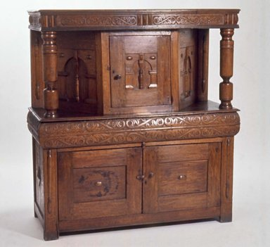 American. <em>Carved Court Cupboard</em>, 17th century. Oak, 53 1/4 x 49 1/2 x 21 in. (135.3 x 125.7 x 53.3 cm). Brooklyn Museum, Henry L. Batterman Fund, 19.158. Creative Commons-BY (Photo: Brooklyn Museum, CUR.19.158.jpg)