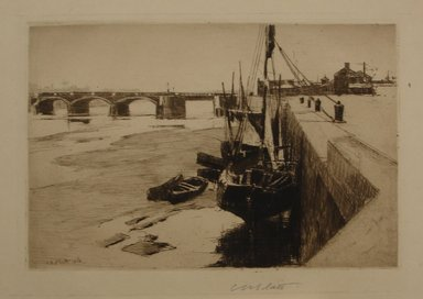 Charles Adams Platt (American, 1861-1933). <em>Inner Port, Trouville</em>, 1888. Etching, Sheet: 10 13/16 x 13 3/4 in. (27.5 x 34.9 cm). Brooklyn Museum, Gift of Frank L. Babbott, 19.181.1 (Photo: Brooklyn Museum, CUR.19.181.1.jpg)