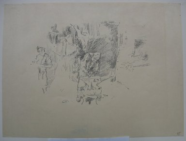 James Abbott McNeill Whistler (American, 1834-1903). <em>The Sunny Smithy</em>, 1895. Lithograph, 9 1/8 x 12 1/4 in. (23.2 x 31.1 cm). Brooklyn Museum, Purchased with funds given by Edward C. Blum, William A. Putnam and the Museum Collection Fund, 19.183 (Photo: Brooklyn Museum, CUR.19.183.jpg)