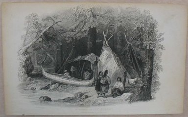 William Wellstood (American, 1819-1900). <em>Wigwam in the Forest</em>. Engraving, Sheet: 5 3/8 x 8 9/16 in. (13.6 x 21.8 cm). Brooklyn Museum, Gift of Mrs. Algernon Sydney Sullivan and George H. Sullivan, 19.184.70 (Photo: Brooklyn Museum, CUR.19.184.70.jpg)